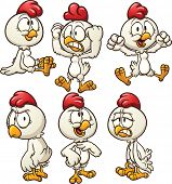 Cute cartoon hen in different poses. Vector clip art illustration with simple gradients. Each on a separate layer.