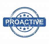 Proactive business stamp with stars isolated on a white background.