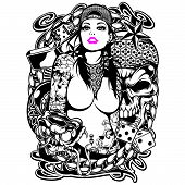 Tattoo Girl Shirt Design