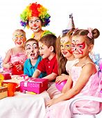 foto of clown face  - Children happy birthday party  - JPG