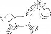 Black and White Horse Cartoon Character Running