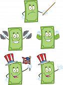 Dollar Bill Cartoon Characters 2. Collection Set