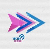 Vector 3d glossy arrow sign template