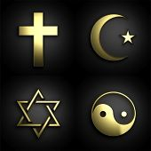 Religious symbols, 3D golden set on black background