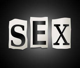image of coitus  - Illustration depicting a set of cut out printed letters formed to arrange the word sex - JPG