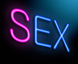 stock photo of coitus  - Illustration depicting an illuminated neon sign with a sex concept - JPG