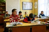 Classroom With Pupils In Russian Ungraded Rural School