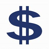 Large Blue Dollar Sign on White