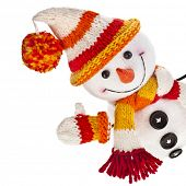 happy snowman in knitted hat and scarf and mittens -isolated on white background