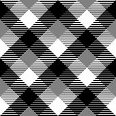 Checkered gingham fabric seamless pattern in black white and grey, vector