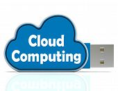 Cloud Computing Memory Stick Means Computer Networks And Servers