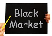 Black Market Blackboard Means Illegal Buying And Selling