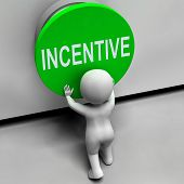 Incentive Button Means Bonus Reward And Motivation