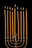 pic of menorah  - Hanukkah menorah with candles isolated on black - JPG