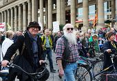 STUTTGART, GERMANY - APRIL 01, 2014: A protest demonstration against the construction of a new railway station building  (near the Central square of Stuttgart (Schlossplatz))