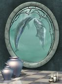 foto of dolphin  - Fantasy scene indoor with big window and dolphins - JPG