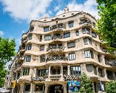 BARCELONA, SPAIN - JUNE 03: Casa Mila, known as La Pedrera, on June 03, 2013 in Barcelona, Spain. Th
