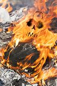 Human Skull In Fire Flames