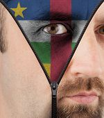 Unzipping Face To Flag Of Central African Republic