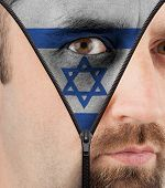 Unzipping Face To Flag Of Israel