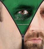 Unzipping Face To Flag Of Saudi Arabia