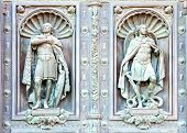 Fragment Of A Door Of Facade Isaak Cathedral In St. Petersburg, Russia. The Sculpture In The Niche O