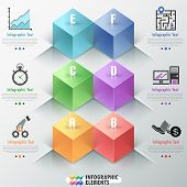 stock photo of parallelepiped  - Modern infographics options banner with realistic colorful parallelepipeds  - JPG