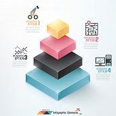 picture of parallelepiped  - Modern infographics options banner with cropped pyramid - JPG