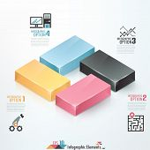 stock photo of parallelepiped  - Modern infographics options banner with 3d colorful blocks - JPG