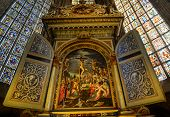 ESSLINGEN, GERMANY - APRIL 02,2014: City Evangelical Church, the main altar. Was painted by Peter Re