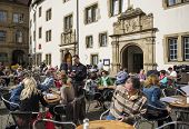 STUTTGART, GERMANY - APRIL 01, 2014: Street cafes on  Old Chancellery(Alte Kanzlei) square