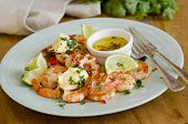 picture of tiger prawn  - Barbecued prawns with chili lime and coriander butter - JPG