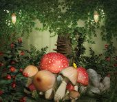 pic of fairy-mushroom  - Fantasy image with mushroom and stump in the forest - JPG