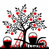 stock photo of hand-barrow  - vector apple tree - JPG