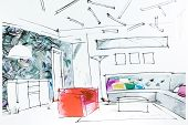 image of interior sketch  - Watercolor sketch of an interior apartment - JPG