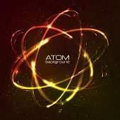 Vector shining neon lights atom model