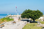picture of el morro castle  - View of the spanish castles of La Cabana and El Morro facing the city of Havana in Cuba - JPG