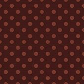 Seamless vector pattern with chocolate brown polka dots on a dark brown background.