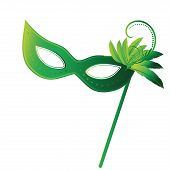 stock photo of venice carnival  - a green carnival masks with some feathers in it - JPG
