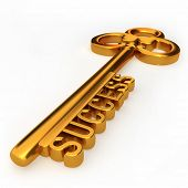 Golden key to success isolated white background 3d illustration