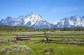 Rail Fence In Field Below Grand Teton Mountain Range