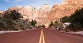 Road Through High Mountain Buttes Zion National Park Desert Southwest