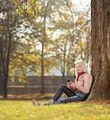 Girl sitting by a tree in park and writing sms shot with tilt and shift lens