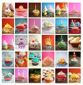 foto of blowers  - Collage showing delicious and tasty cupcakes with candles - JPG