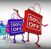 Fifty-percent Off Bags Show Sales And 50 Discounts