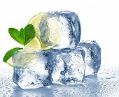 stock photo of mints  - Lime mint and ice cube close - JPG