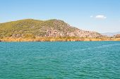 stock photo of dalyan  - Mountain at the river Turkish landscape - JPG