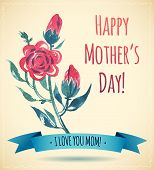 pic of i love you mom  - Watercolor Flower Happy Mother - JPG