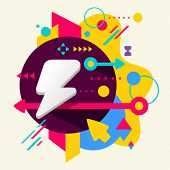 Lightning On Abstract Colorful Spotted Background With Different Elements