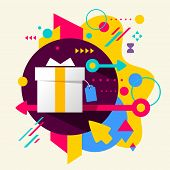 Gift Box On Abstract Colorful Spotted Background With Different Elements